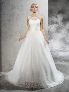 Ball Gown Sash/Ribbon/Belt Court Train Net Wedding Dress