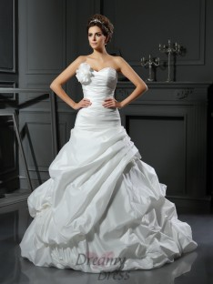 Ball Gown Satin Sweetheart Cathedral Train Wedding Dress