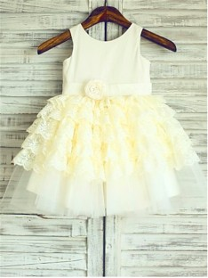 Ball Gown Scoop Layers Tea-Length Lace Flower Girl Dress