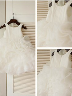 Ball Gown Scoop Layers Tea-Length Organza Flower Girl Dress