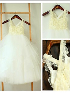 Ball Gown Square Layers Tea-Length Tulle Flower Girl Dress