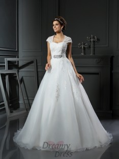 Ball Gown Square Organza Chapel Train Wedding Dress