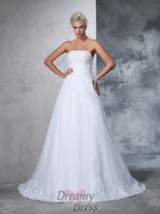 Ball Gown Strapless Net Court Train Wedding Dress