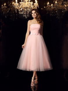 Ball Gown Strapless Satin Tea-Length Dress