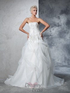 Ball Gown Strapless Tulle Chapel Train Wedding Dress