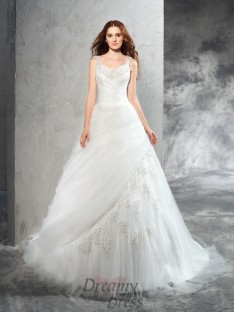 Ball Gown Straps Court Train Net Wedding Dress