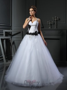 Ball Gown Straps Tulle Chapel Train Wedding Dress