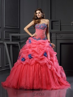 Ball Gown Sweetheart Chapel Train Organza Dress