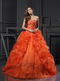 Ball Gown Sweetheart Court Train Organza Dress