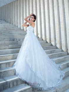 Ball Gown Sweetheart Lace Chapel Train Wedding Dress
