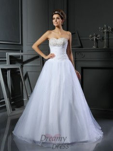 Ball Gown Sweetheart Satin Court Train Wedding Dress
