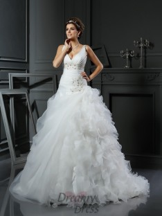 Ball Gown V-neck Court Train Organza Wedding Dress