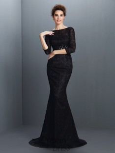 Bateau 3/4 Sleeves Lace Sweep/Brush Train Elastic Woven Satin Dress