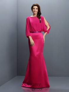 Bateau Long Sleeves Sweep/Brush Train Chiffon Bridesmaid Dress
