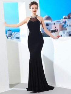 Sheath Jewel Spandex Sweep/Brush Train Dress with Beading