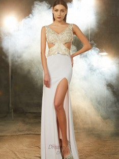 Sheath V-neck Floor-Length Spandex Dress with Beading
