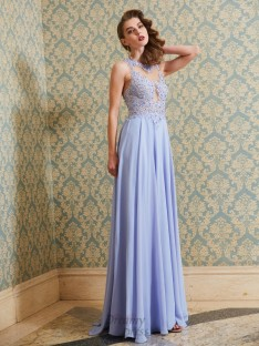A-Line Scoop Floor-Length Chiffon Dress with Applique