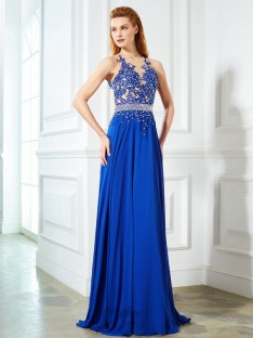 A-Line Sheer Neck Chiffon Sweep/Brush Train Dress with Applique
