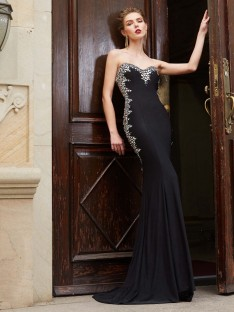 Sheath Sweetheart Spandex Sweep/Brush Train Dress with Sequin