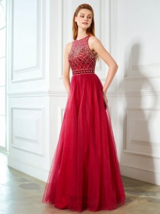 A-Line Scoop Floor-Length Tulle Dress with Beading