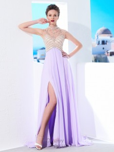 A-Line High Neck Sweep/Brush Train Chiffon Dress with Crystal