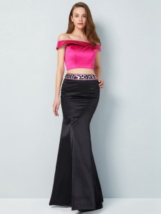 Mermaid Off-the-Shoulder Floor-Length Satin Two Piece Dress with Beading
