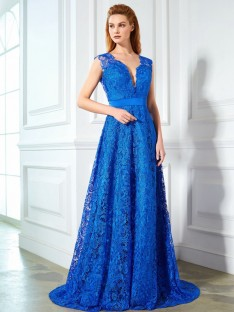 A-Line V-neck Sweep/Brush Train Lace Dress with Bowknot