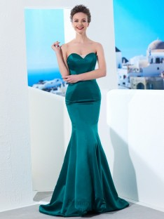 Mermaid Sweetheart Ruched Sweep/Brush Train Satin Dress