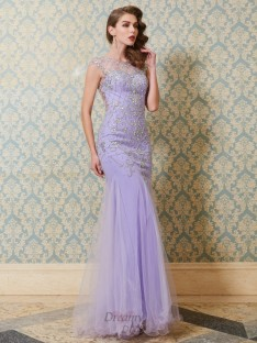 Mermaid Scoop Floor-length Tulle Dress with Beading