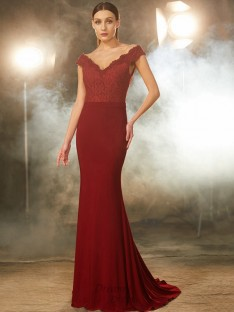 Mermaid Off-the-Shoulder Lace Spandex Sweep/Brush Train Dress