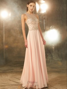 A-Line Scoop Chiffon Floor-length Dress with Crystal