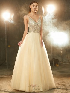 Ball Gown V-neck Floor-length Tulle Dress with Beading