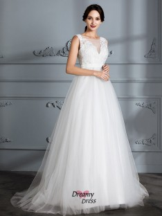 A-Line/Princess V-neck Sweep/Brush Train Tulle Wedding Dress