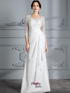 d6f5ef7711d0 Sheath/Column V-neck Chiffon Floor-Length Wedding Dress