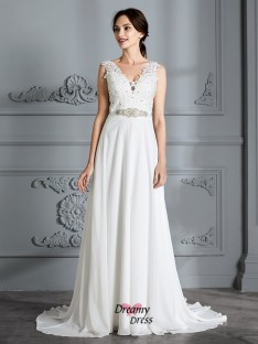 A-Line/Princess V-neck Sweep/Brush Train Chiffon Wedding Dress