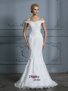 Trumpet/Mermaid Off-the-Shoulder Sweep/Brush Train Tulle Wedding Dress