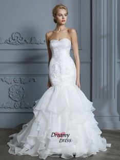 Trumpet/Mermaid Sweetheart Sweep/Brush Train Organza Wedding Dress