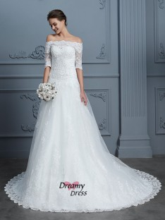 Ball Gown Off-the-Shoulder Court Train Lace Wedding Dress