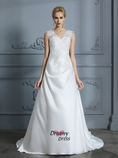 A-Line V-neck Sweep/Brush Train Satin Wedding Dress