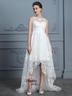 A-Line Scoop Asymmetrical Lace Wedding Dress