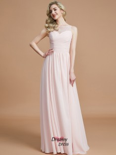 A-Line/Princess Bateau Ruched Floor-Length Chiffon Bridesmaid Dress
