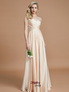 3dbc3ee051 A-Line/Princess V-neck Ruched Floor-Length Satin Chiffon Bridesmaid Dress