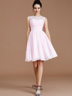92b9b010f19 A-Line Princess Sweetheart Lace Short Mini Chiffon Bridesmaid Dress