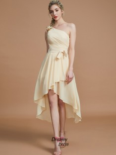 A-Line/Princess One-Shoulder Layers Asymmetrical Chiffon Bridesmaid Dress