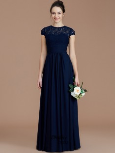 bcc4a7c153b A-Line Princess Jewel Lace Floor-Length Chiffon Bridesmaid Dress