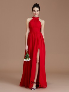 A-Line/Princess Halter Ruched Floor-Length Chiffon Bridesmaid Dress