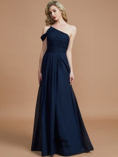 e74bdd3cefe A-Line Princess One-Shoulder Floor-Length Chiffon Bridesmaid Dress