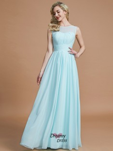 A-Line/Princess Scoop Floor-Length Chiffon Bridesmaid Dress