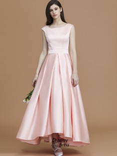 A-Line/Princess Bateau Asymmetrical Ruffles Satin Bridesmaid Dress