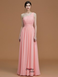 A-Line/Princess One-Shoulder Floor-Length Ruched Chiffon Bridesmaid Dress